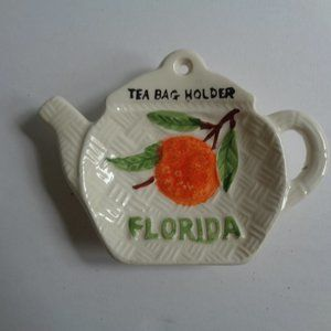Vintage Kitchen - Vintage Florida Spoon Rest Tea Bag Holder Coffee